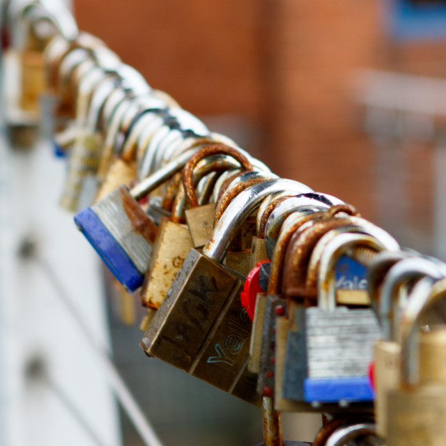 """Padlocks on a bridge"" stock image"