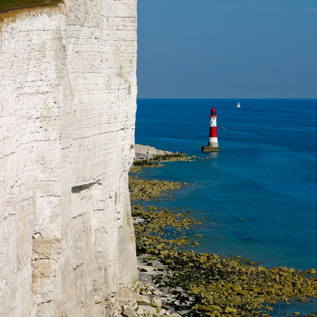 """South Downs Way - Beachy Head lighthouse"" stock image"