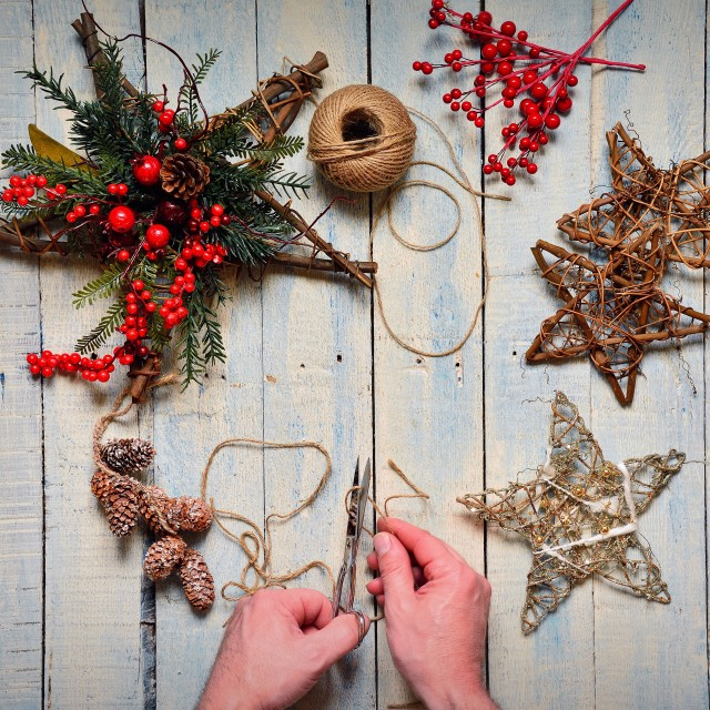 """Preparing the Christmas decoration."" stock image"