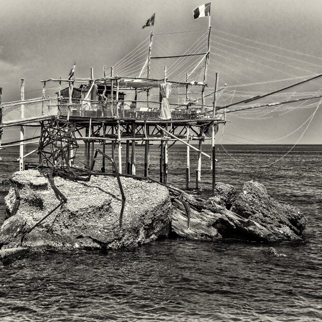 """Trabucco of Tufano cape, harbour Vallevò, Rocca San Giovanni (CHieti) Italy"" stock image"