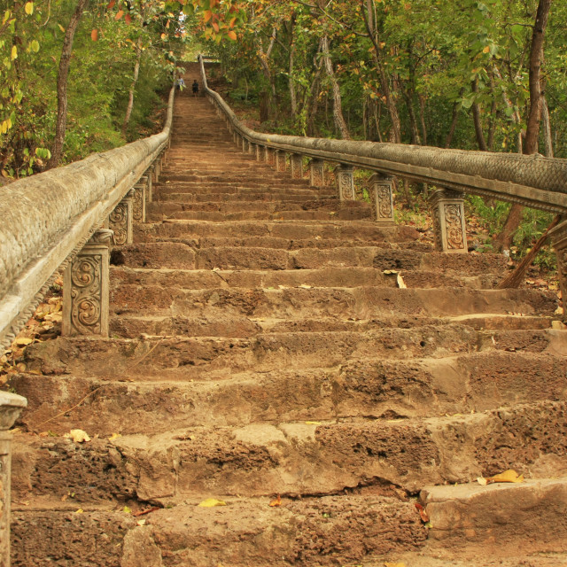 """Staircase to Prasat Banan, Battambang, Cambodia"" stock image"