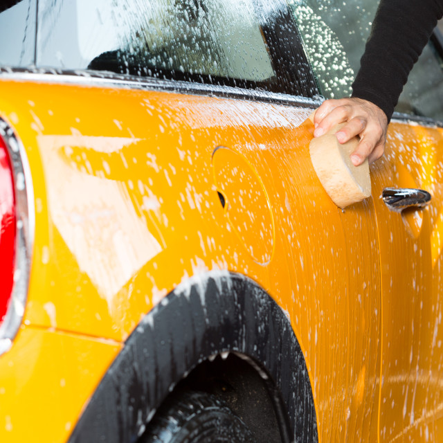 """Car washing with soap"" stock image"