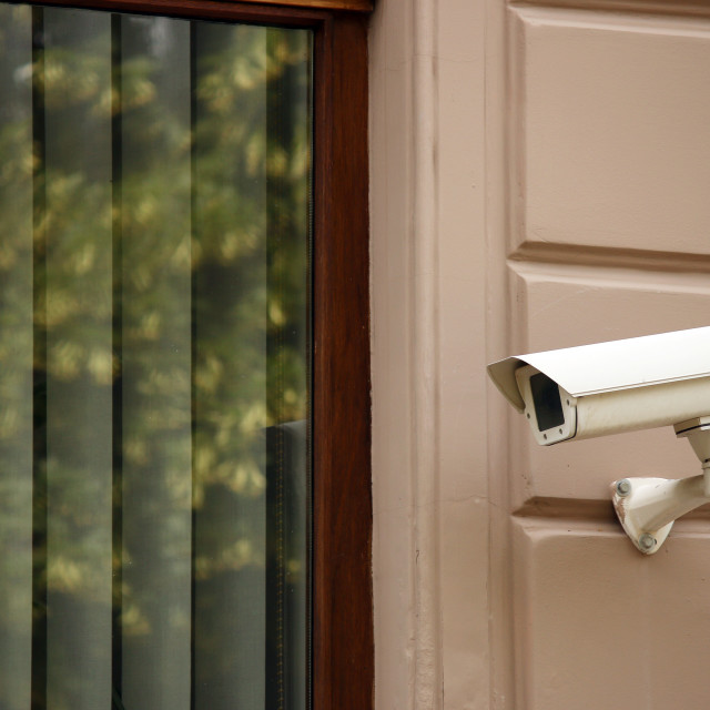 """security camera on wall watching"" stock image"