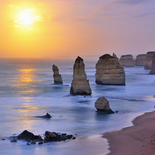 """Moonset over Twelve Apostles"" stock image"