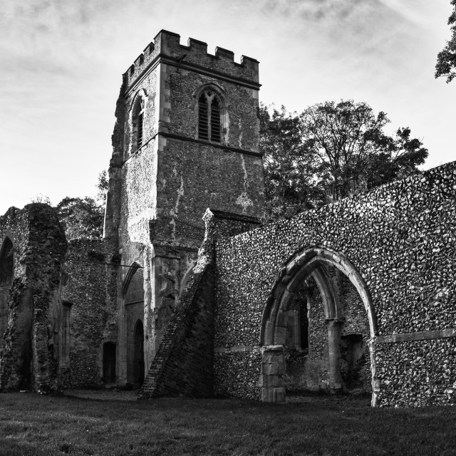 """Ruined Church, Ayot St Lawrence"" stock image"