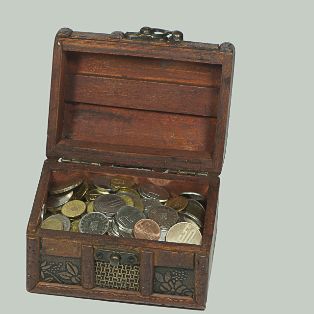 """Treasure chest with romanian currency"" stock image"