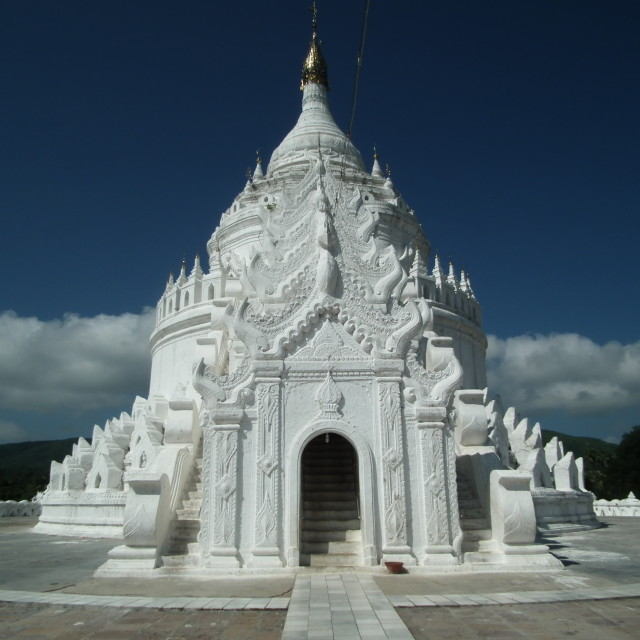 """The White Hsinbyume Pagoda in Mingun"" stock image"