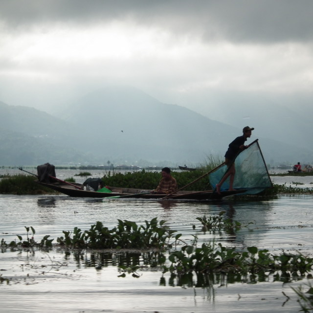 """Fisherman at Lake Inle"" stock image"
