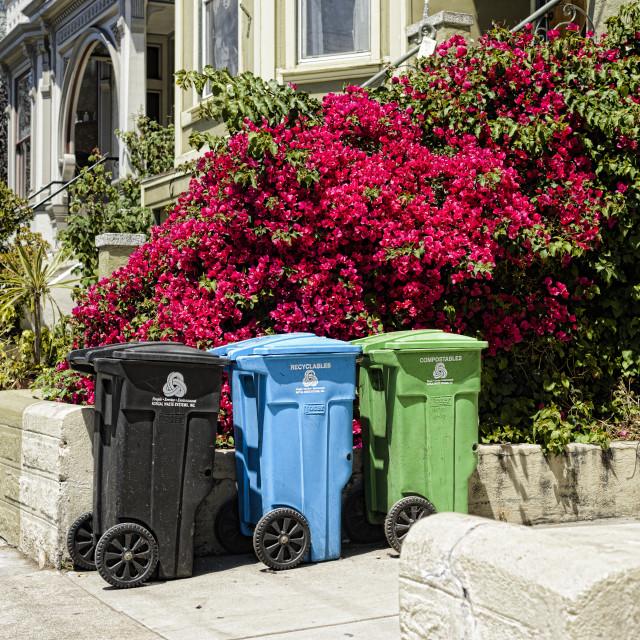 """We three bins"" stock image"