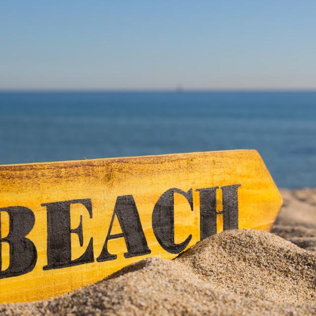 """Wood Sign Beach"" stock image"