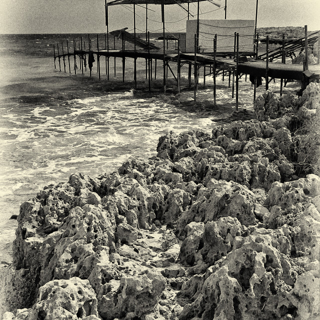 """Cyprus island Makronissos beach Monochrome"" stock image"