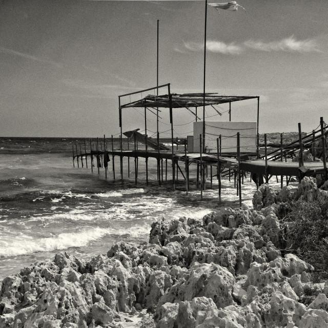 """Cyprus island Makronissos beach BW"" stock image"