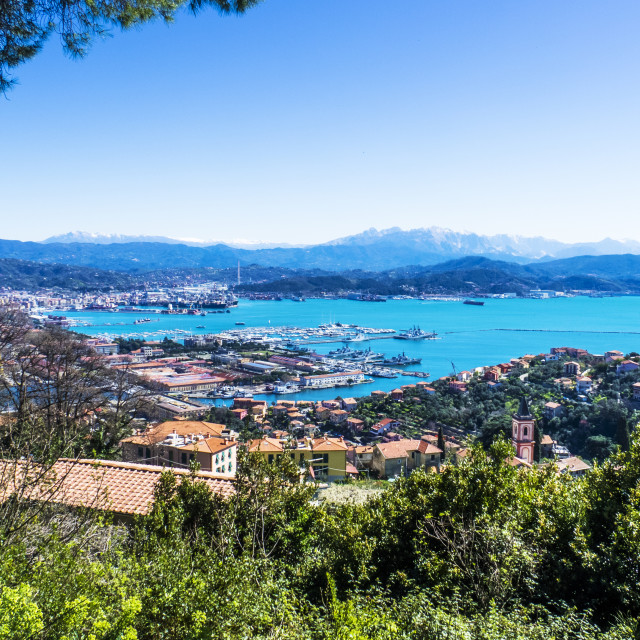 """""""Beautiful and colorful seascape and village in Liguria, Italy"""" stock image"""