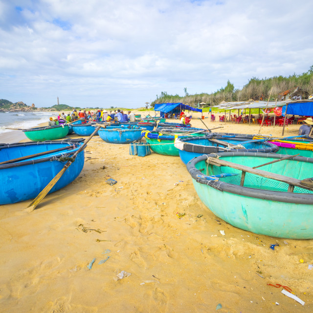"""basket boats on the beach"" stock image"