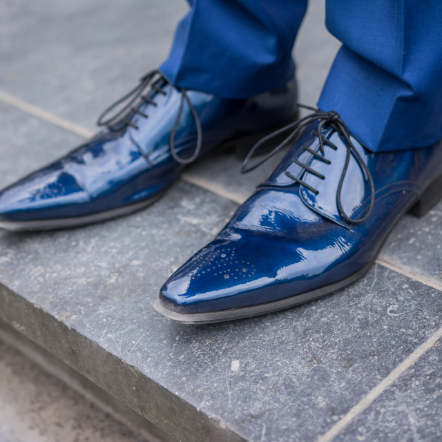 """Blue leather lacquered shoes"" stock image"