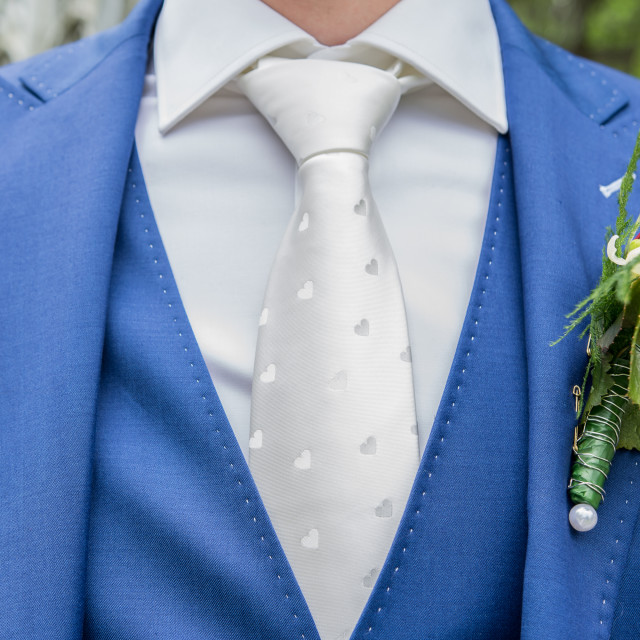 """Groom with blue suit and white tie"" stock image"