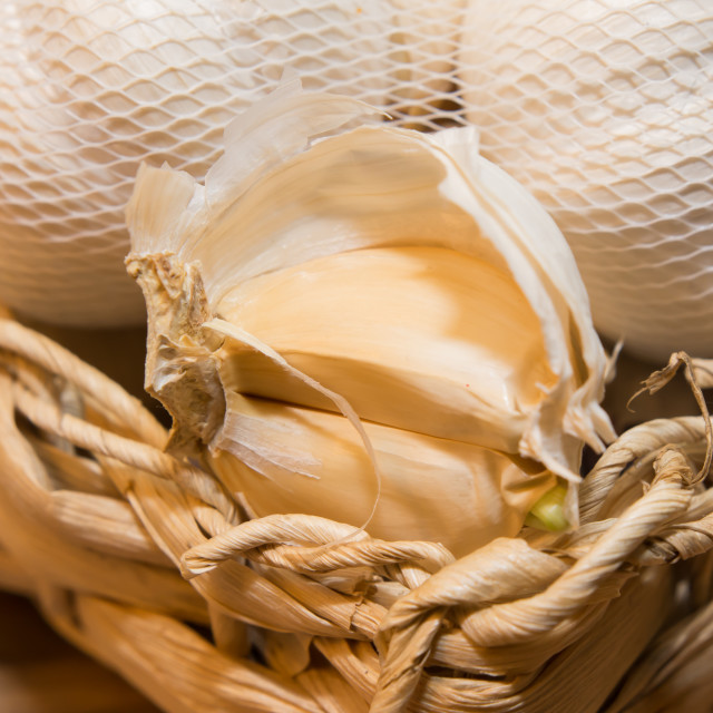 """Garlic in basket"" stock image"