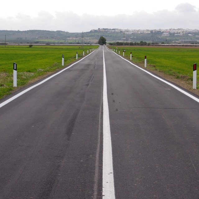 """""""countryside road with white stripe in the middle"""" stock image"""