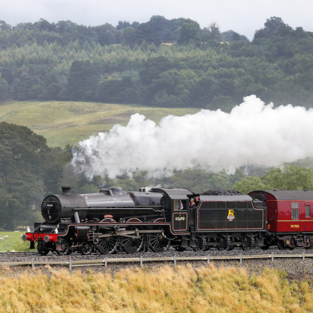 """Steam locomotive on the Settle to Carlisle Railway Line"" stock image"