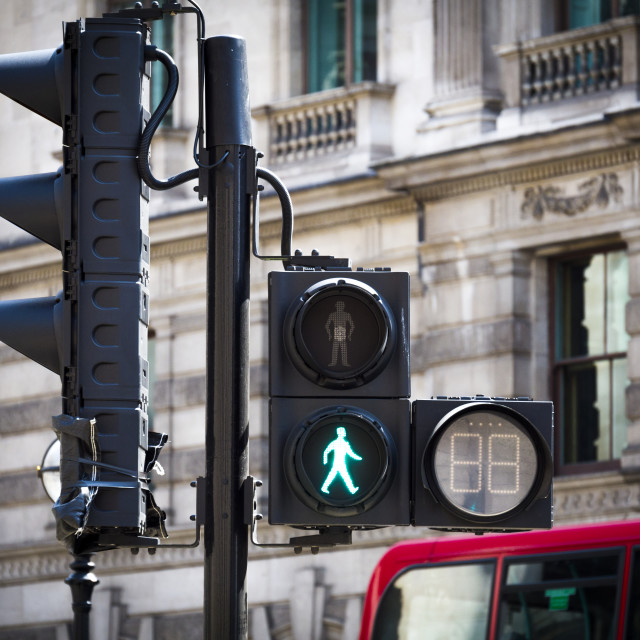 """Traffic Lights for Pedestrian Crossing showing Green"" stock image"