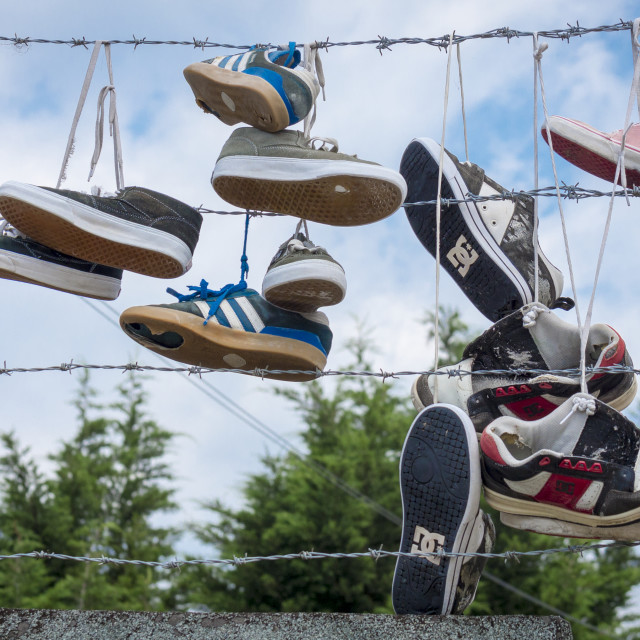 """Old Trainers hanging off a wire fence"" stock image"