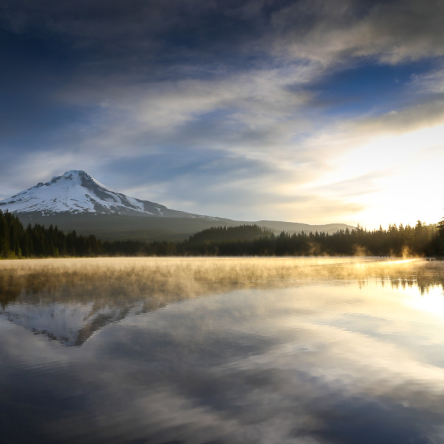 """Mount Hood from Trillium Lake"" stock image"