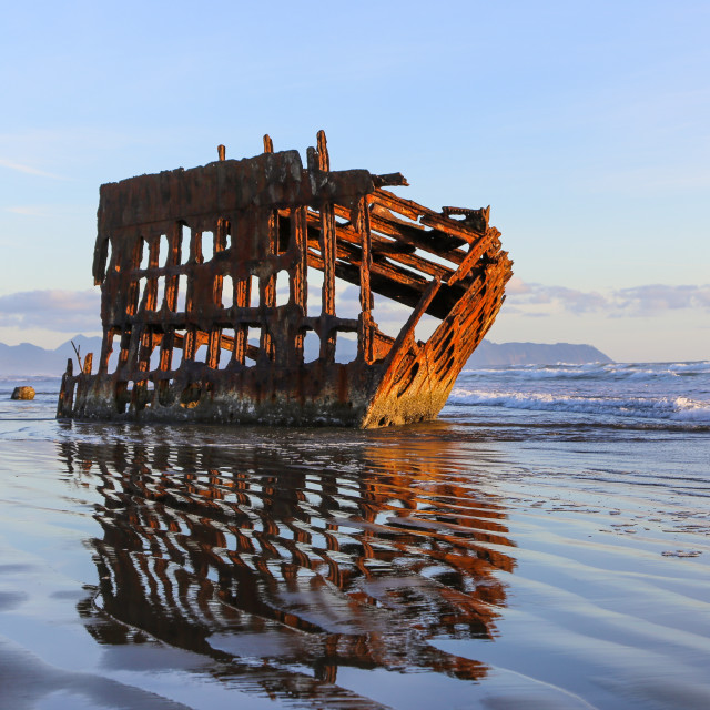 """Shipwreck on the Oregon Coast"" stock image"