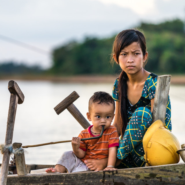 """""""Mother and son on the lake"""" stock image"""