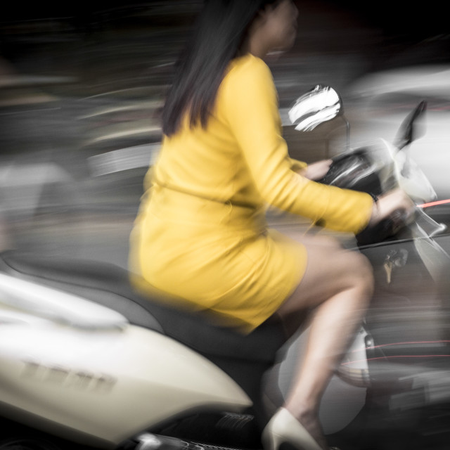"""Hanoi Scooter Girl"" stock image"