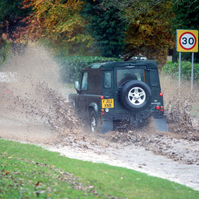 """Vehicle Flooded Road"" stock image"