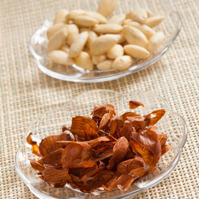 """Blanched almonds shells"" stock image"