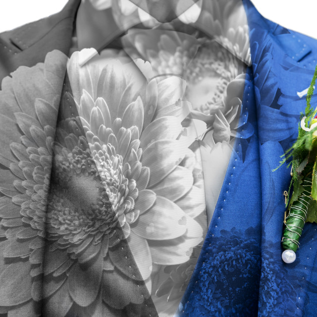 """Double exposure of groom and flowers"" stock image"