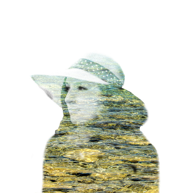 """Double exposure of woman and water"" stock image"