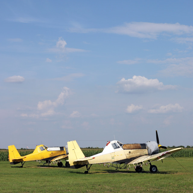 """""""two crop duster airplanes on airfield"""" stock image"""