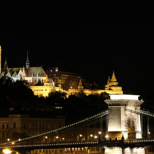"""Fisherman towers and Chain bridge by night Budapest Hungary"" stock image"