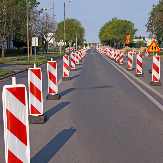 """""""roadwork signs on street road construction"""" stock image"""