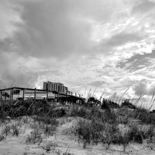 """The Restaurant on the Beach"" stock image"