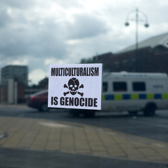 """Poster Declaring Multiculturalism Is Genocide"" stock image"