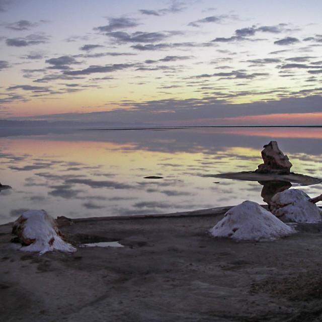 """Salt Lake Chott El-Djerid in Sahara Desert, Tunisia"" stock image"