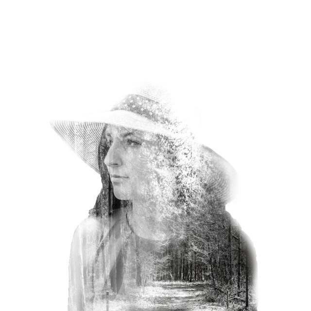 """Double exposure of woman and forrest"" stock image"