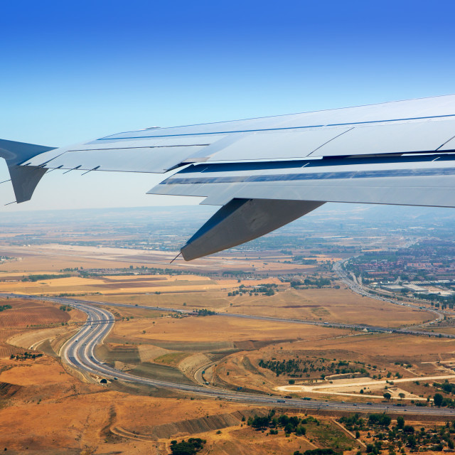 """Airplane takeoff from Madrid barajas in Spain"" stock image"