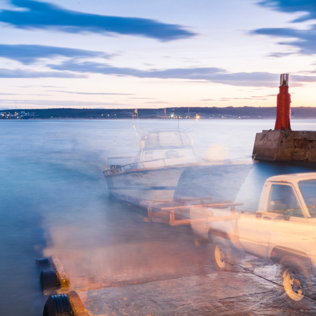 """""""Pre-dawn launch at the slipway"""" stock image"""