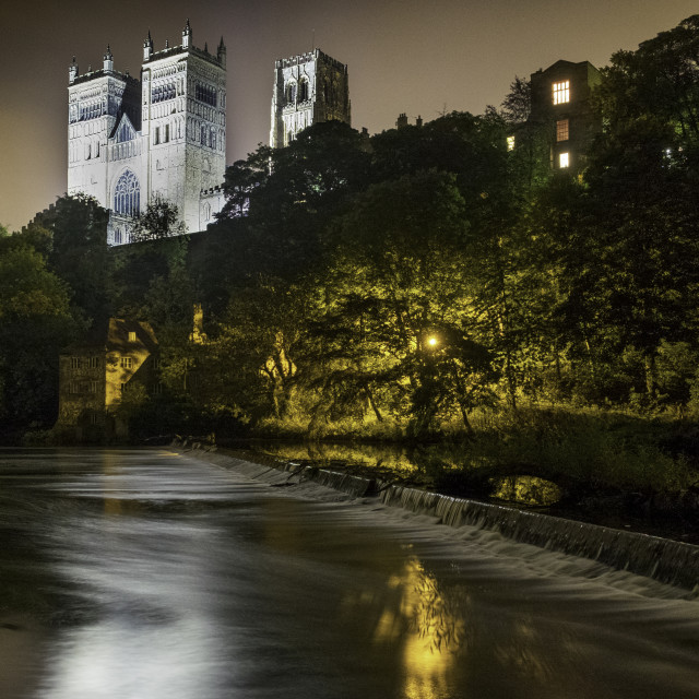 """Durham river at night"" stock image"