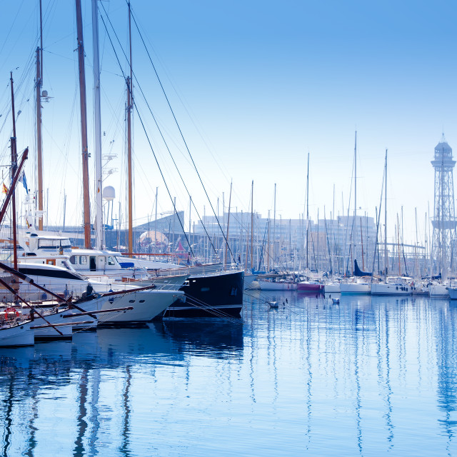 """Barcelona marina port with teleferic tower"" stock image"