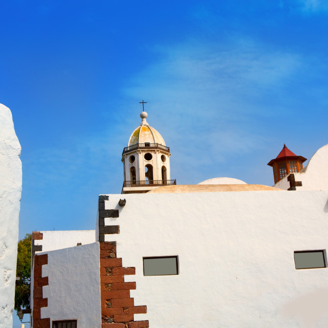 """Lanzarote Teguise white village with church tower"" stock image"