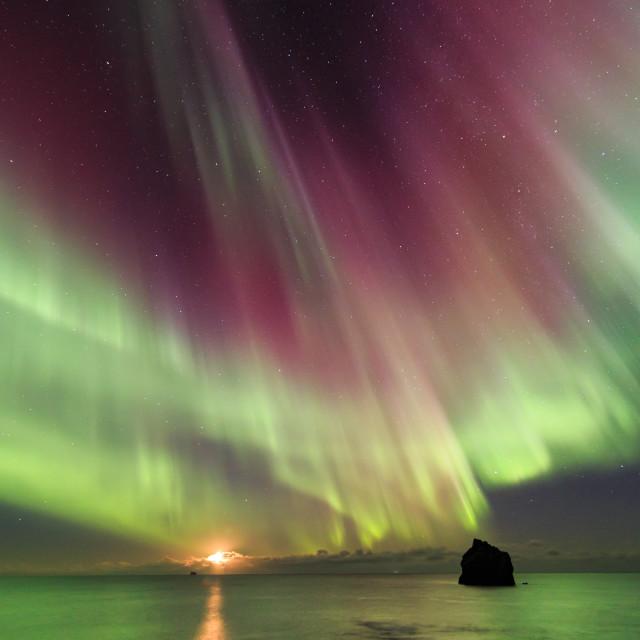 """Moonset at Reykjanes."" stock image"