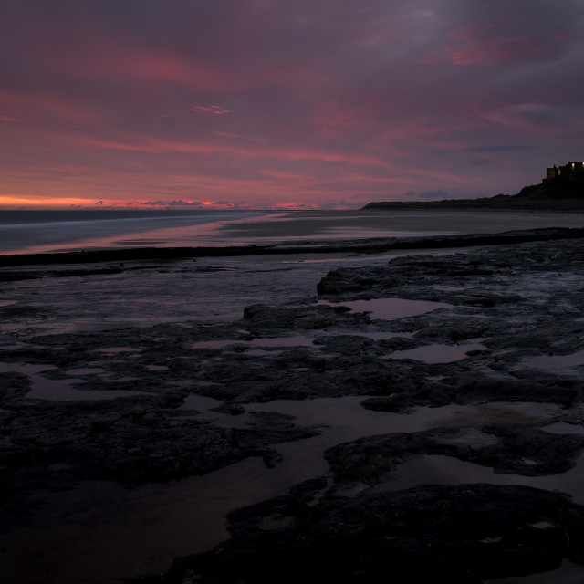 """Bamburgh Castle Sunrise"" stock image"