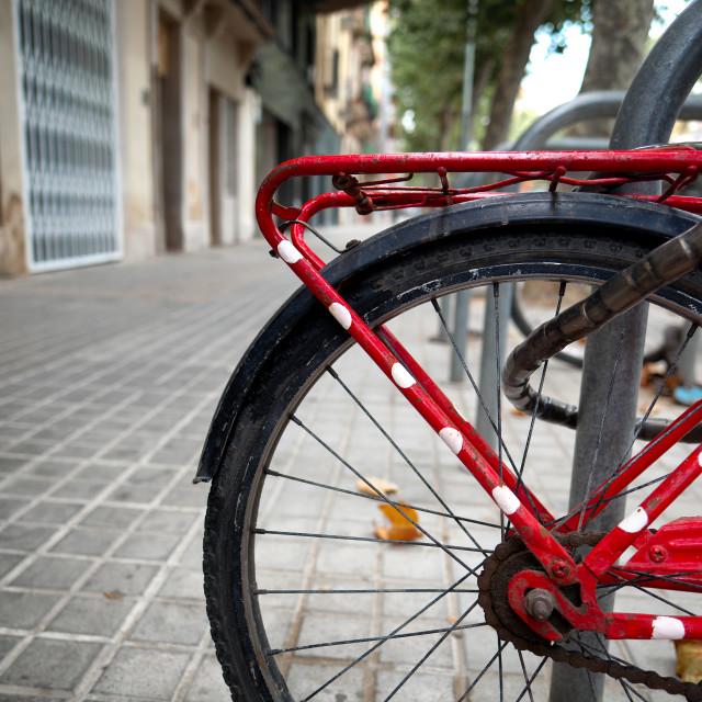 """Parked City Bike."" stock image"