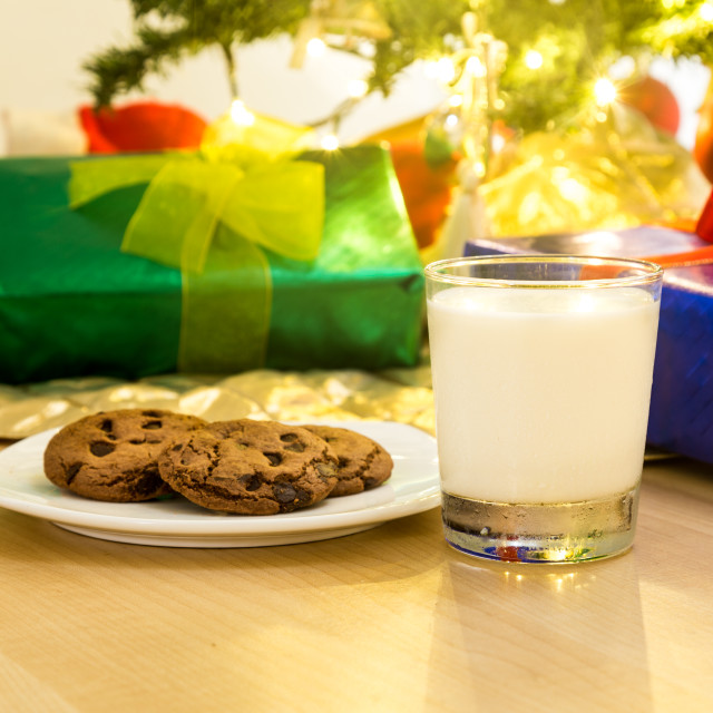 """Milk and cookies for Santa Clause under Christmas tree."" stock image"
