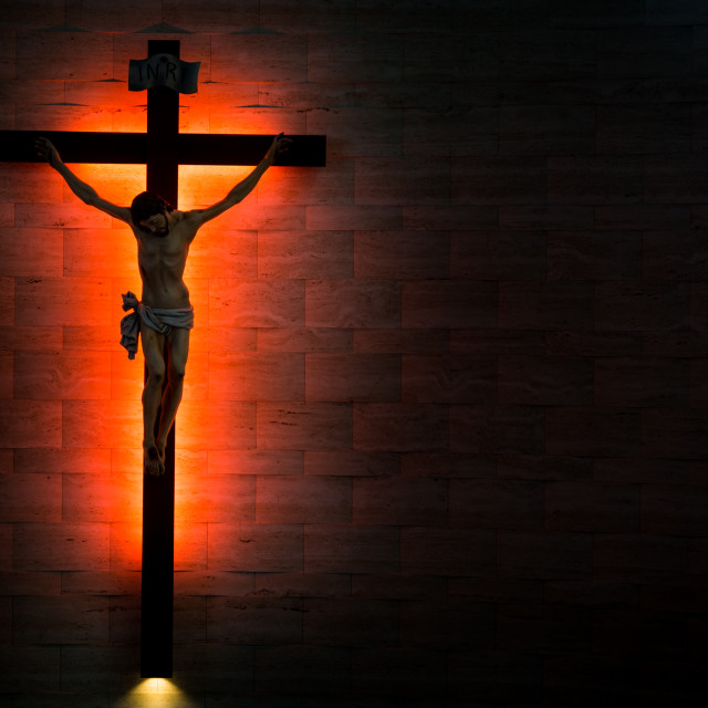 """Catholic Christian Crucifix in silhouette flushed left."" stock image"
